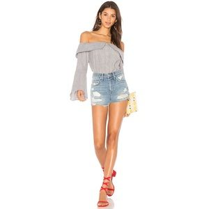 High Rise Distressed Jean Shorts Lovers + Friends